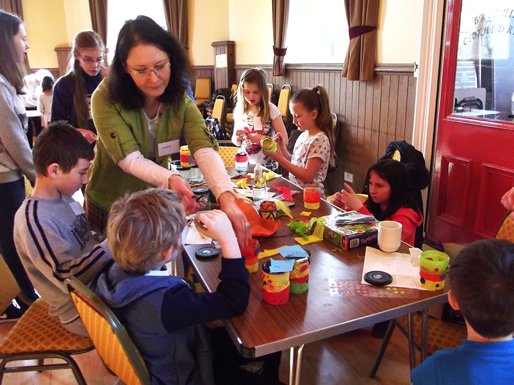 Iryna and children at Messy Church